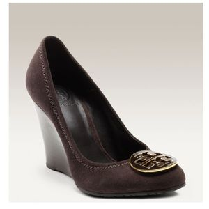 Tory Burch Sophie Wedge Brown Suede Leather Sz 11